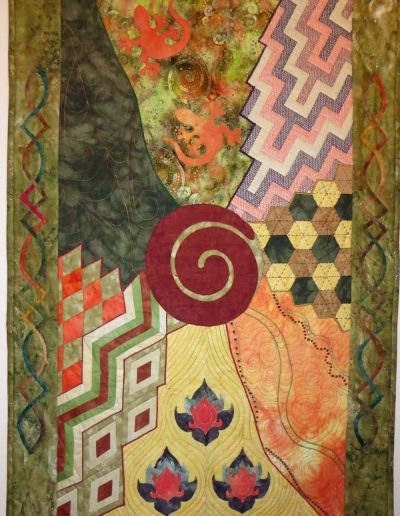 <p>Celtic to Maori</p> <p>This quilt was the conclusion of the Creative Journey Class 2015 with Pat Archibald.   The topic was &#8220;Crossing Borders&#8221; and depicts my journey from Scotland over many countries to New Zealand.   The quilt represents Scotland. United Arab Emirates, Australia, Thialand and New Zealand.