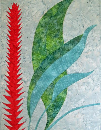 <p>Heliconia</p> <p>The inspiration for this design came from a photograph taken at The Climatron, St Louis where a Heliconia caribaea var. purpurea can be found attempting to reach the 60ft high glass roof built using a framework of hexagons. It certainly brightened up a grey morning.
