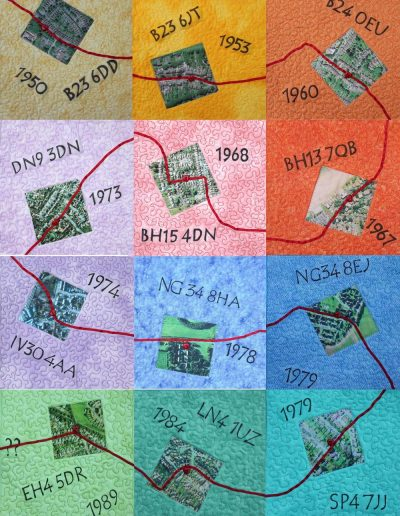 <p>Life Line – Home was where the heart is.  <p>I looked at my past homes from a spatial perspective. An aerial photograph evokes memories of the immediate surroundings. The postcode and year are reminders of the wider area and my life there. Commercial fabrics with photo printed from Google Earth. <p>Completed for the Contemporary Quilt Group Journal Quilt Challenge 2014