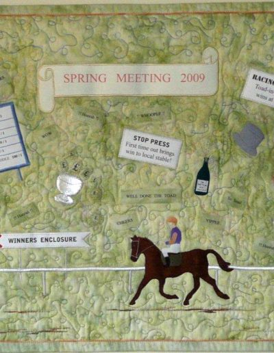 <p>Spring Meeting 2009</p>   <p>Made for a QGBI Regional Day challenge held at Scone Racecourse. Bonded, machine embroidered, free machine stitched and fun!
