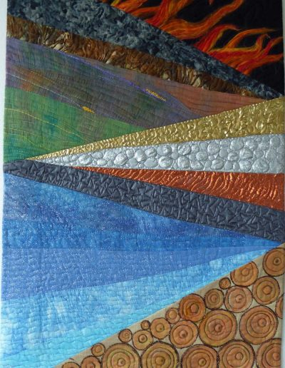 <p>Take Five</p> <p>This quilt was selected for the Contemporary Quilters Challenge 2015 exhibition at The Festival of Quilts.    I have illustrated Fire,  metal, earth, water and wood &#8211; the five Chinese elements.