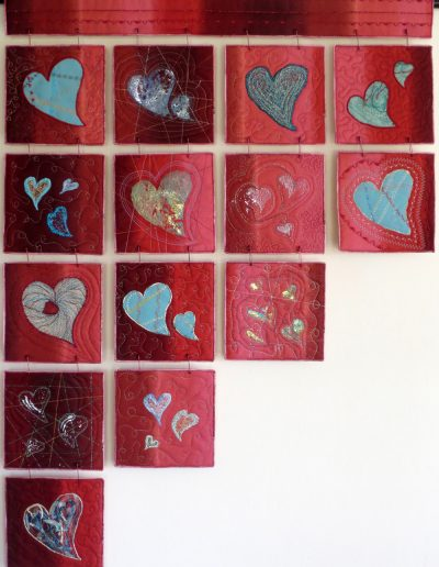 <p>Thread Hearts 2015</p>  <p>Made following an Academy of Quilting workshop exploring the many possible ways of using threads.<p>